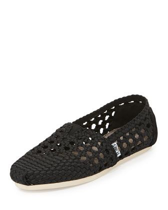 Braided Crochet Satin Slip-On, Black by TOMS at Neiman Marcus.