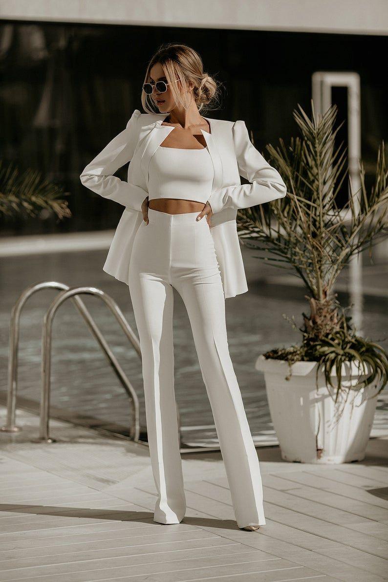 Hochzeit weißen Anzug Frauen