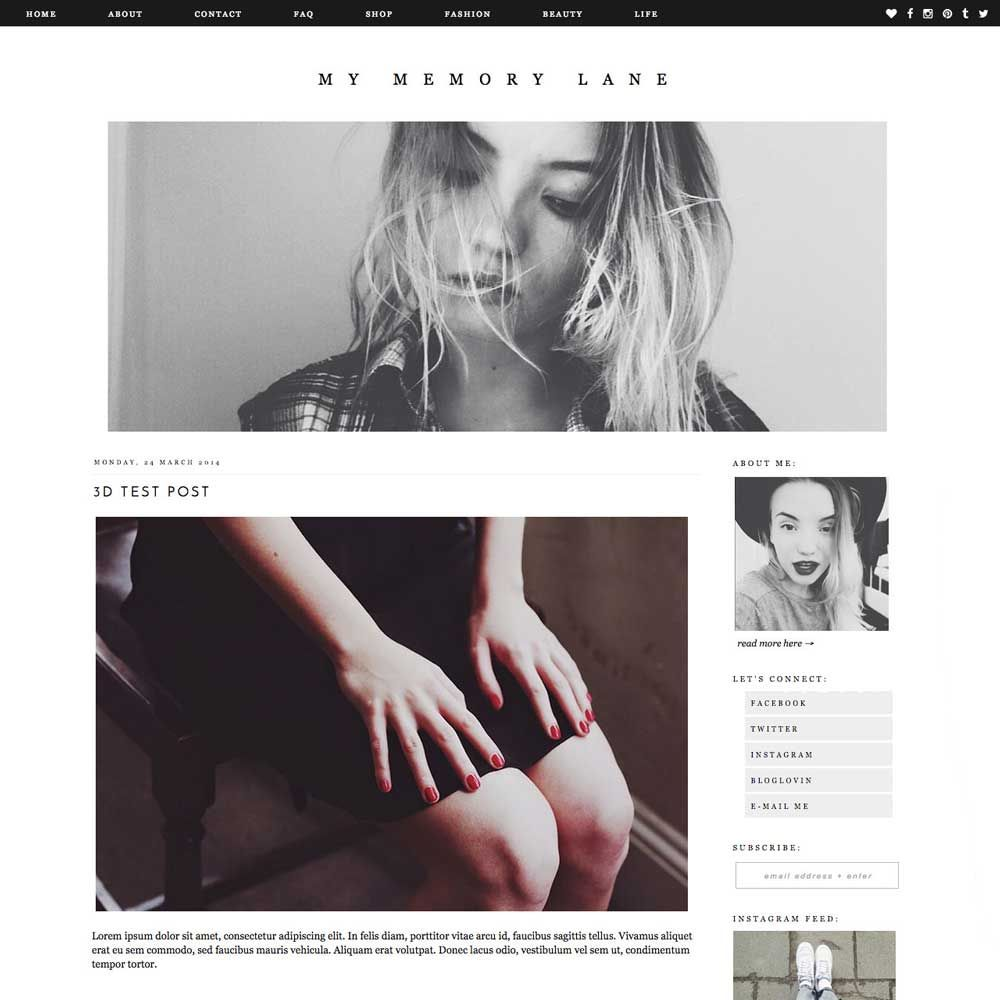 Blogger Template- Memory Lane | blog design, blog design ideas ...