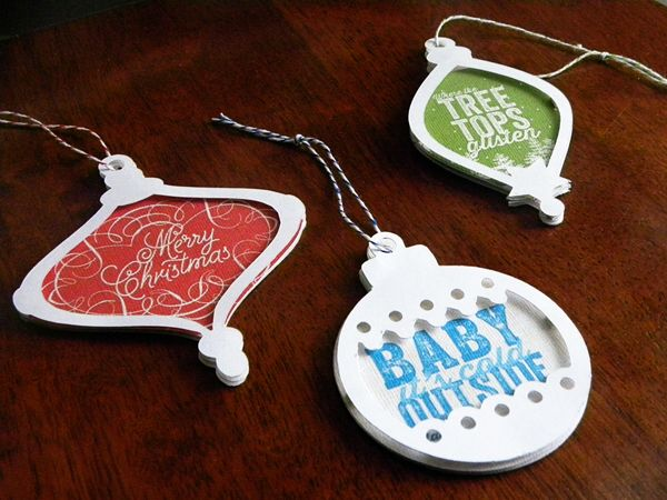 Diecut Ornaments or Tags   Supplies: Kelleigh Ratzlaff Designs: Ornament Cut Files and Template Set; Celeste Knight: White Christmas; Americ...
