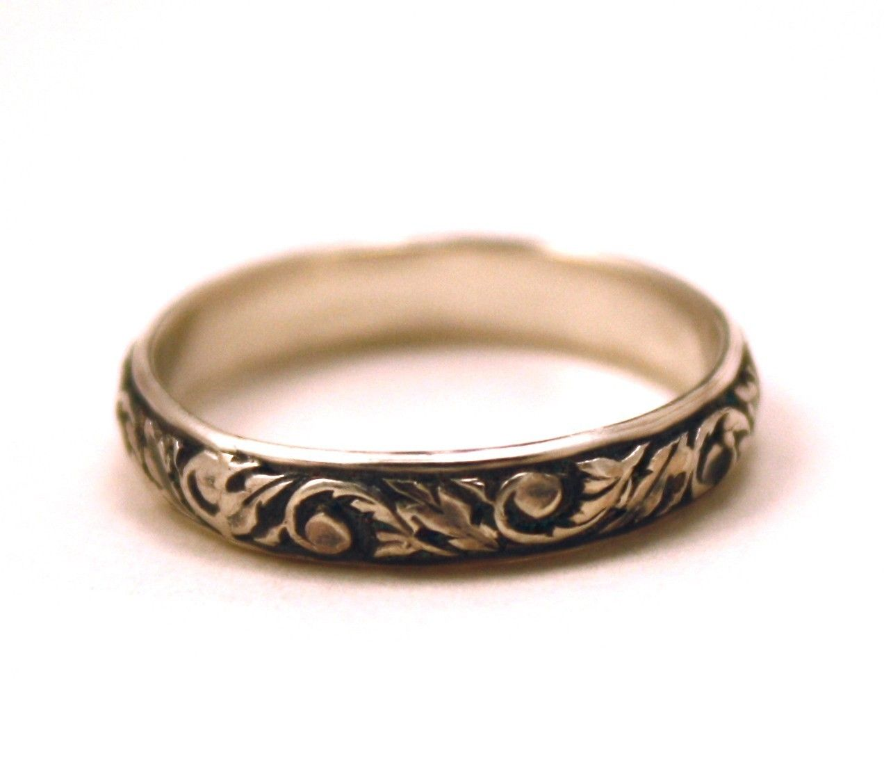 Wedding Ring Vintage Antique Look Fl Scroll Leaf Design Sterling Silver Free Engraving
