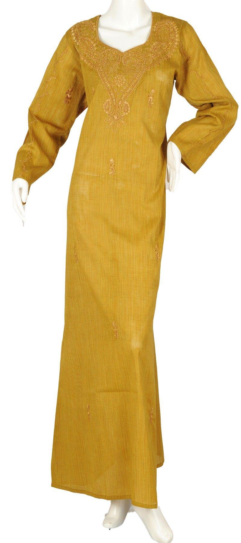 "aljalabiya.com: ""The Golden Starlet Kaftan"" Pure cotton jalabiya with machine embroidery (N-9861)   $59.00"
