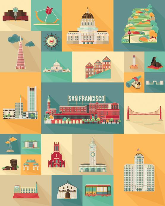 67d1b327de3 San Francisco Landmarks Art Print Poster on Behance