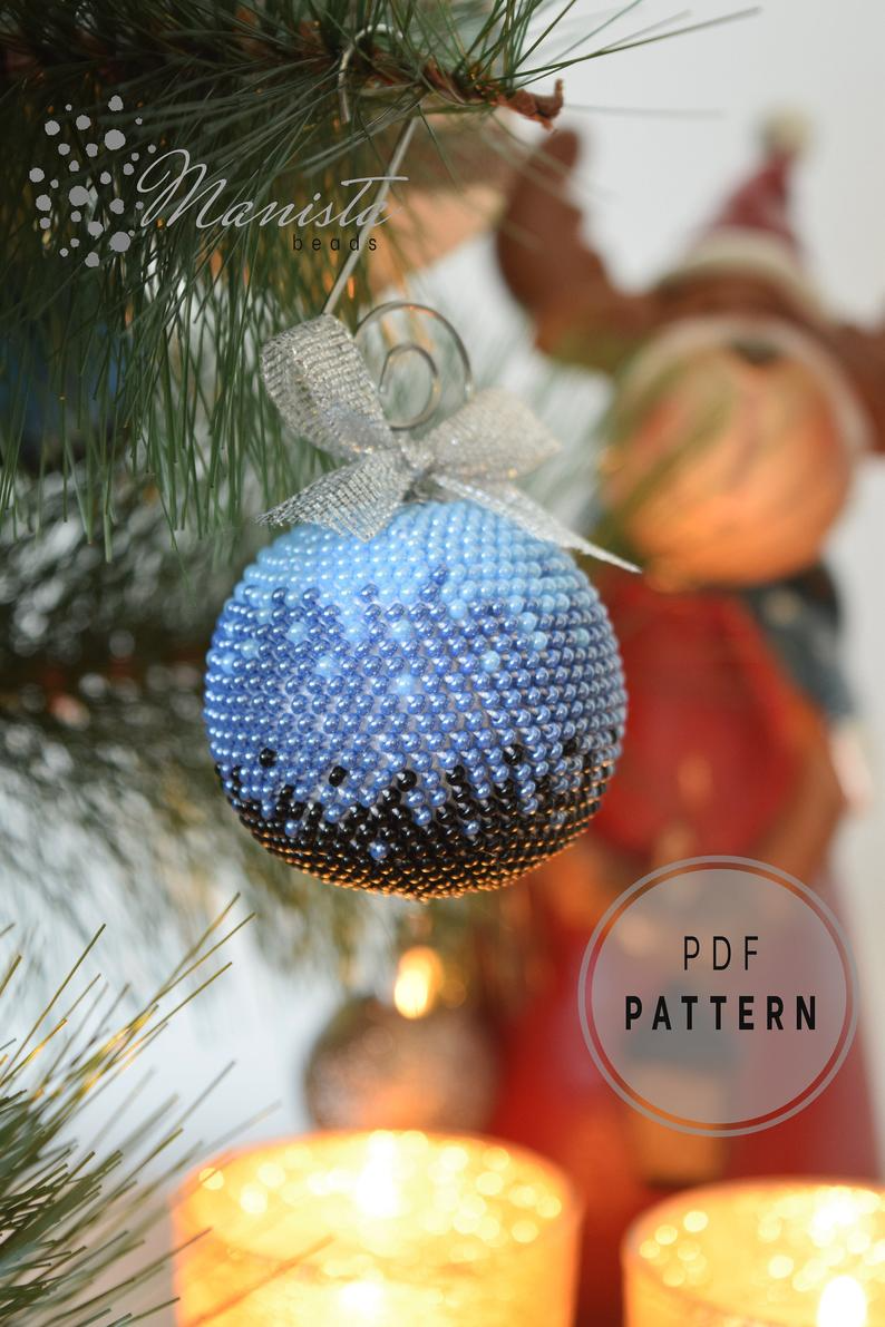 Beaded Crochet Christmas Ball Ornament Pdf Pattern Etsy In 2021 Crochet Ornaments Free Pattern Beaded Christmas Ornaments Christmas Crochet