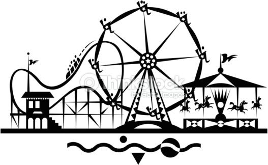 Roller Coaster Ferris Wheel Merry Go Round Also Available In Color Roller Coaster Art Roller
