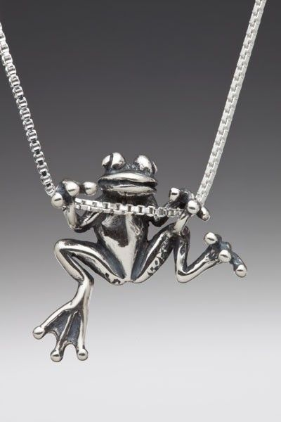Frog Necklace Silver Animal Jewelry Frog Charm Frog Pendant Tree ...