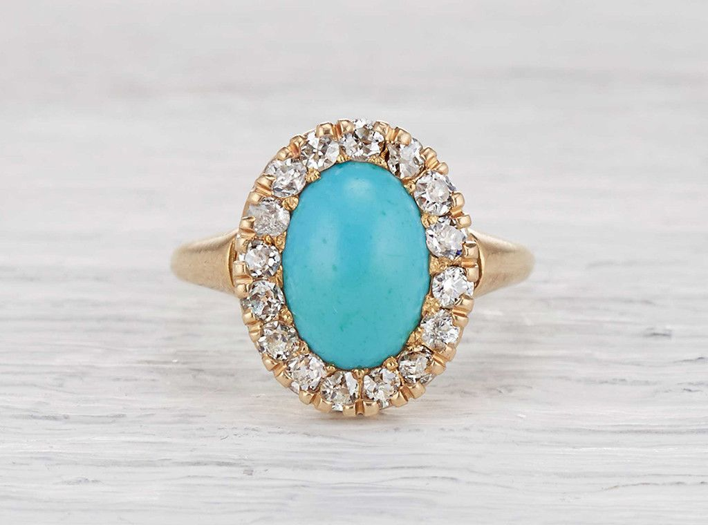 fbfb6fffd Victorian antique Tiffany & Co. engagement ring featuring a center  turquoise and diamond cluster in