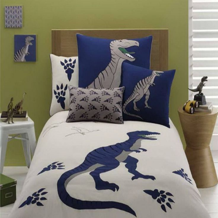 Accessories Furniture Impressive Boys Bedroom With Dinosaur Pattern Bedding Set Feat Ash Wooden Headboard And Round Bedside Table Complete