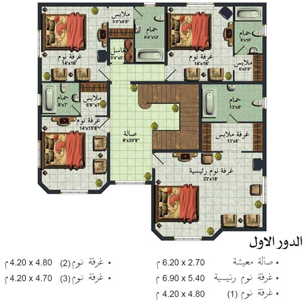 تصاميم منازل Square House Plans Family House Plans New House Plans