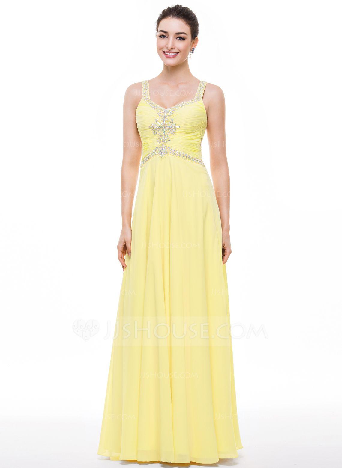 Alineprincess vneck floorlength chiffon prom dress with ruffle