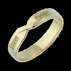 9ct Yellow Gold Diamond  4mm Twist Wedding Ring