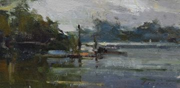 "Delta Moorings by Simon Addyman Oil ~ 8"" x 16"""