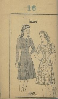 An unused original ca. 1940's New Style Pattern 3602.  One-piece princess-lined dress with full-length button front closure.  Neck can be finished as a lace-trimmed, square neck or with a high circular neckline finished with a scalloped peter pan collar.  Sleeves can be short set-in caps trimmed in lace, or a full length.  Skirt is slightly flared.