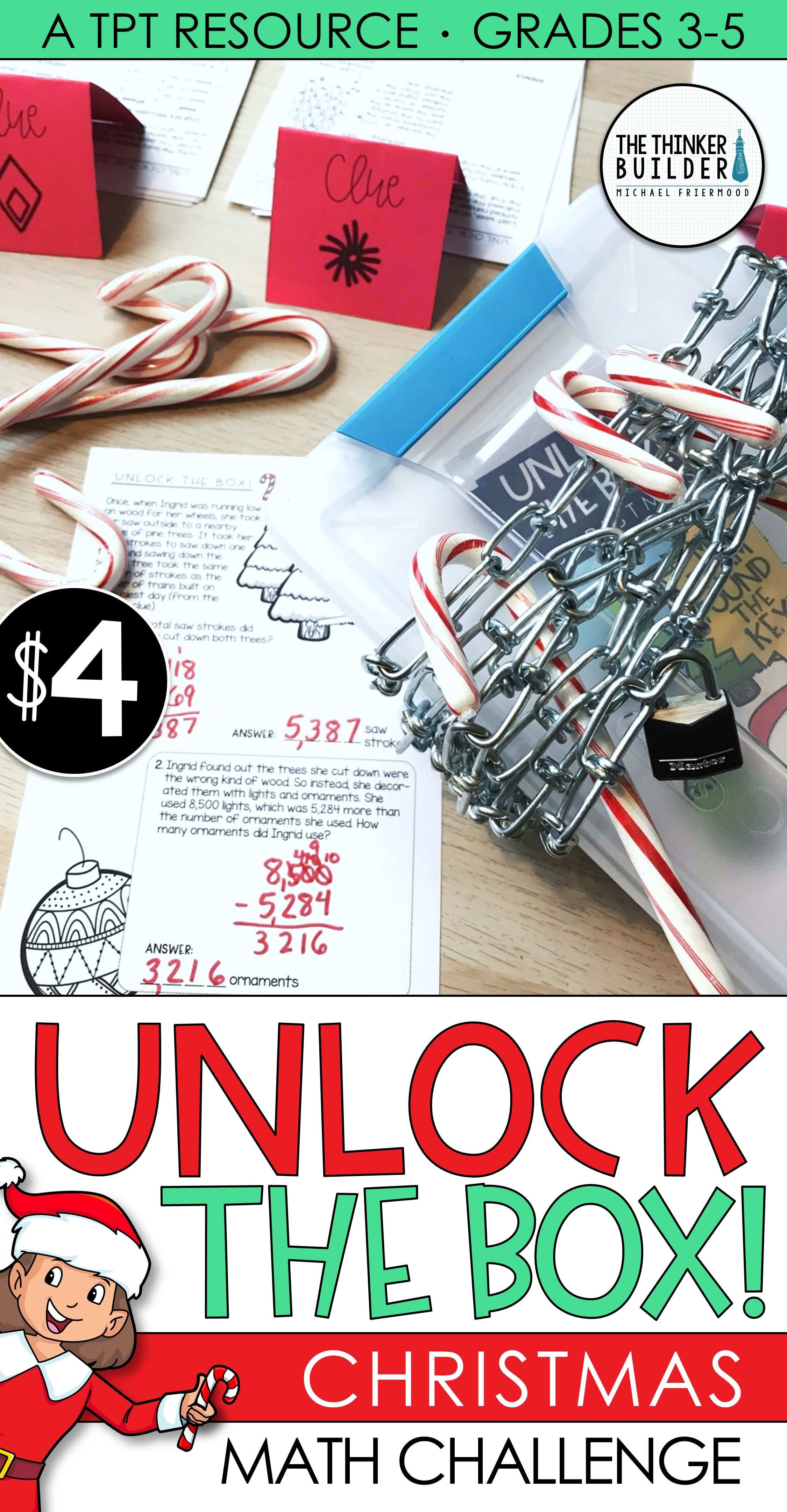Unlock The Box Christmas Math Activity Addition Amp Subtraction W Regrouping