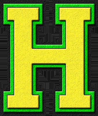 Presentation Alphabets Yellow Kelly Green Varsity Letter H Varsity Letter Lettering Lettering Alphabet