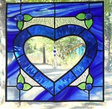 STAINED GLASS COBALT BLUE HEART PANEL