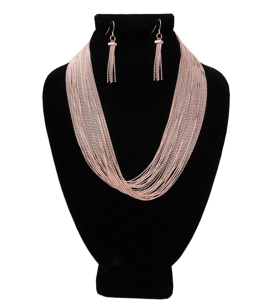 Rose Gold Multistrand Necklace Set Empris Collection Pinterest
