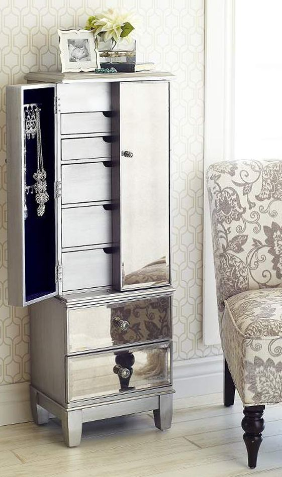 Hayworth Mirrored Silver Jewelry Armoire Jewelry Armoire Furniture Mirror Jewelry Armoire