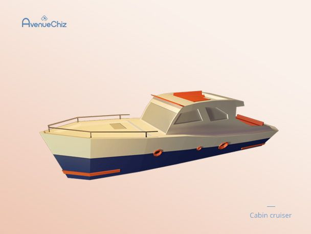 3D low poly cabin cruiser 3D low poly boat t