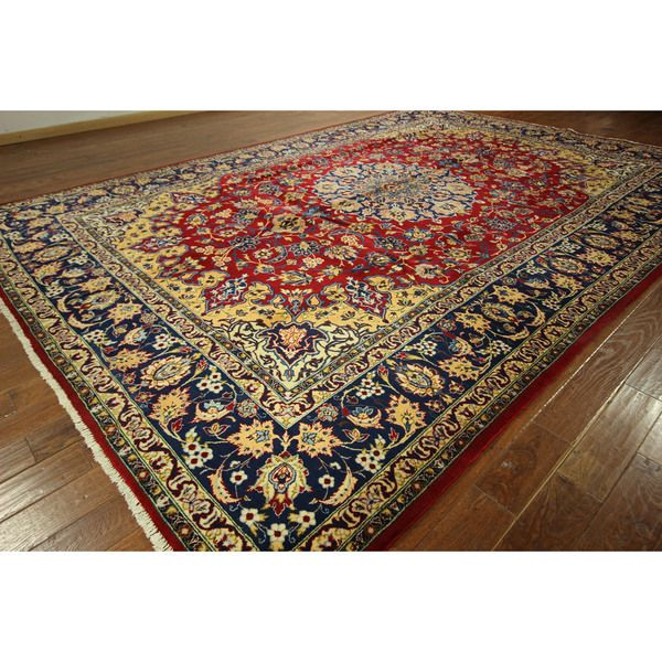 Gt52 Red Blue Hand Knotted Super Fine Isfahan Persian Wool Area Rug 10