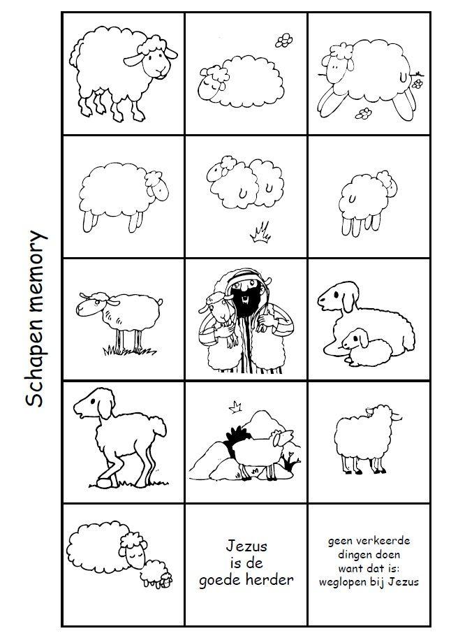 schapen memory spel jezus is de goede herder schapen
