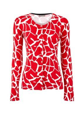 Red Giraffe Print Cardigan