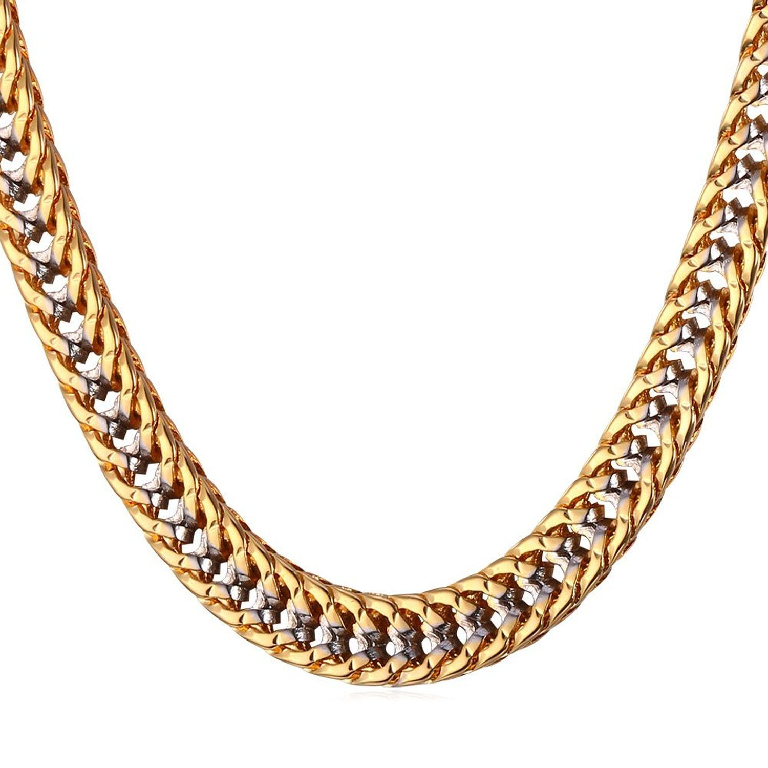 Unisex Two Tone Gold Jewelry Men 6MM Wide Platinum & 18K Gold Plated Franco Curb  Chain Necklace (18