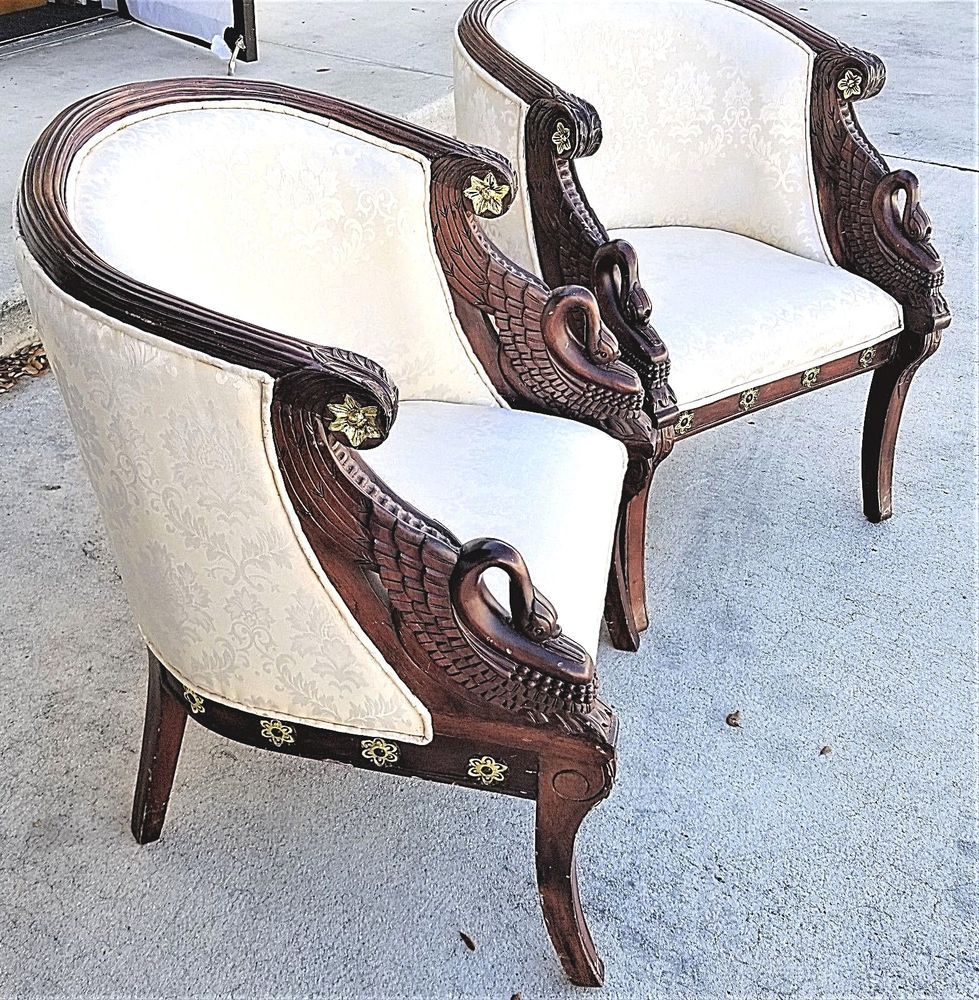 Pair of Authentic Antique Empire Hand Carved Mahogany Swan