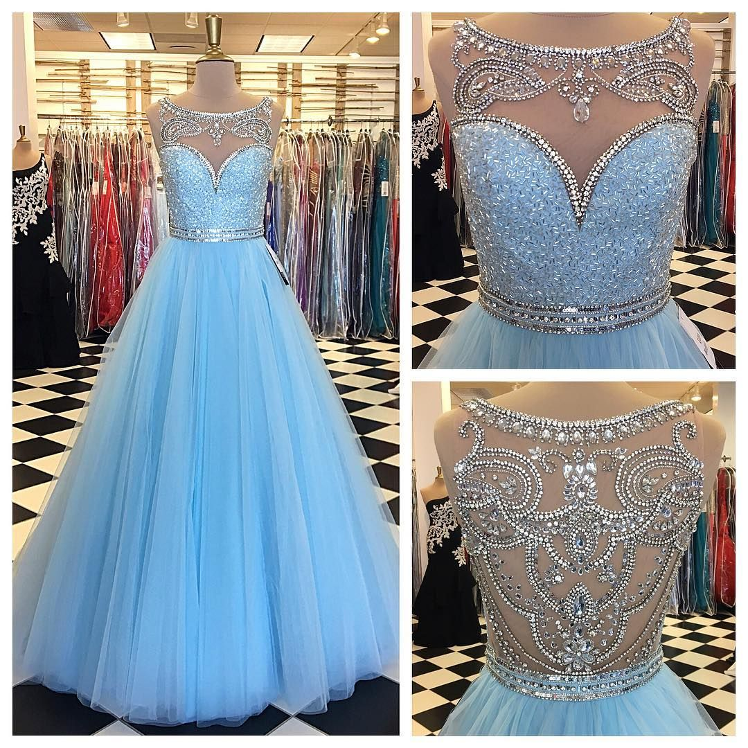 Light Blue Prom Dress,Ball Gowns Prom Dress,Crystal Beaded ...