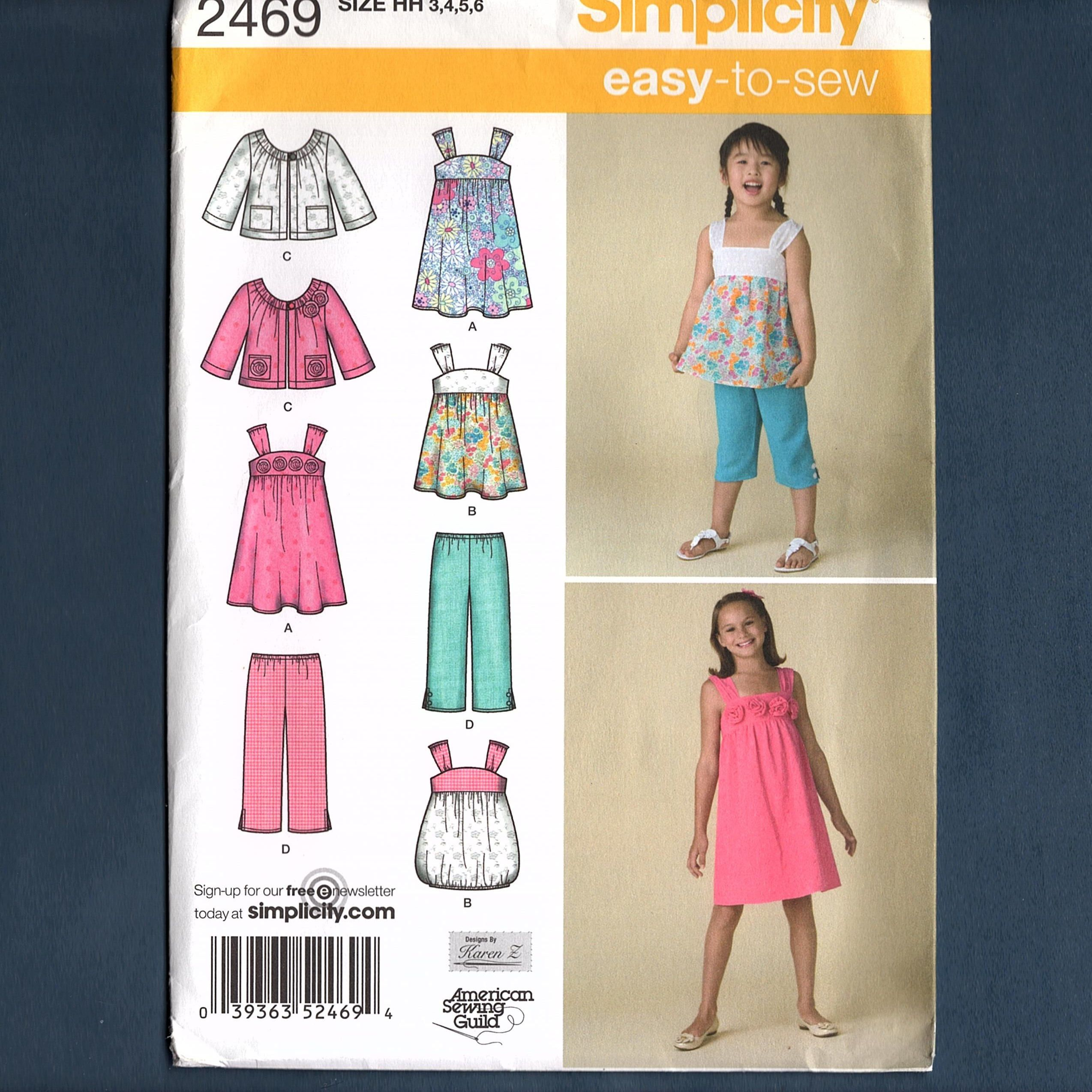 dd03c7bc9e9 Simplicity 2469 Girls Dress and Top