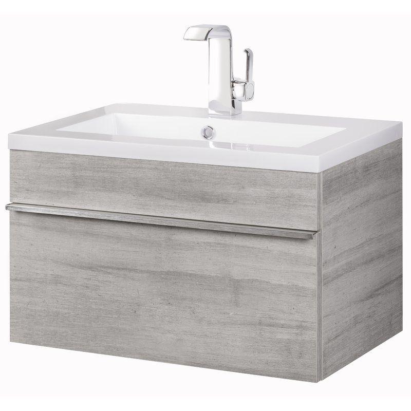 Trough Wall Mounted Single Bathroom Vanity Set In 2020 Floating