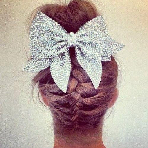 Upside Down Braid Messy Bun And Sparkly Bow I Would Have Done The In Color Instead Cheerleading Bows Hair