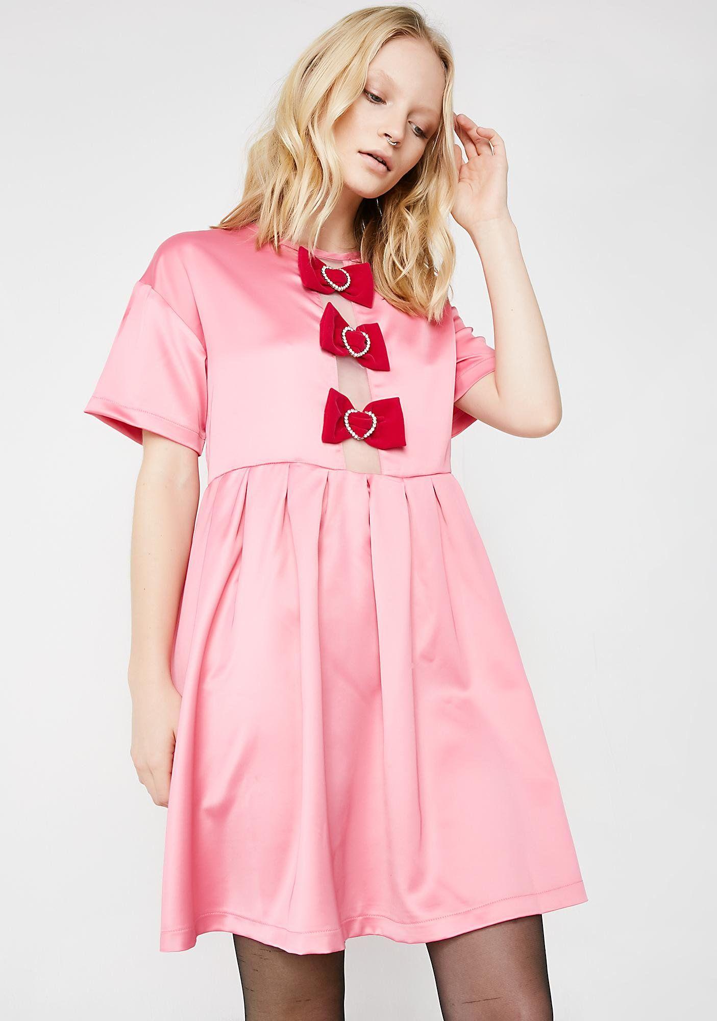 Sparkle Heart Bow Smock Dress