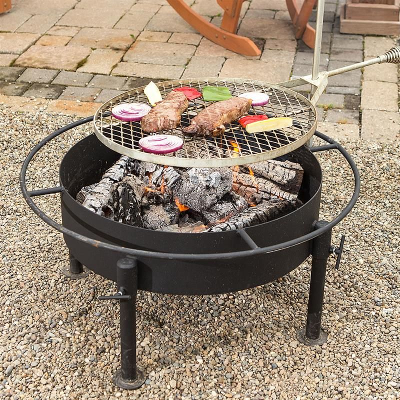 Amish Made Fire Pit Grill   Cook Over A Wood Fire Right On Your Patio