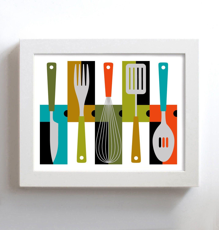 Kitchen Art Mid Century Modern Decor Retro Kitchen Colorful