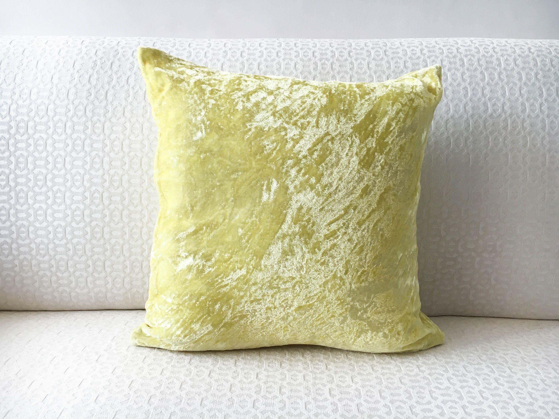 Lemon Yellow Velvet Pillow cover in Custom Throw pillow sizes ...