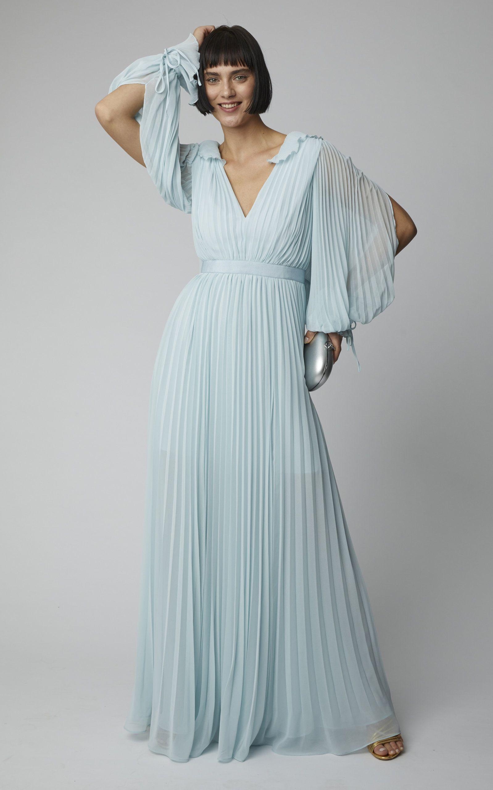 21cdb3782a9 Self Portrait Pleated Chiffon Maxi Dress in 2019