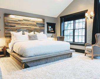 Bois flotté Steph gris fini lit plate-forme horizontale décalée rapiécé recyclé récupéré bois tête de lit