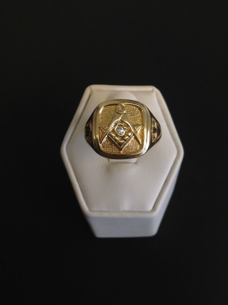 Masonic Freemason Mens 10k Yellow Gold and Diamond Ring SOLD