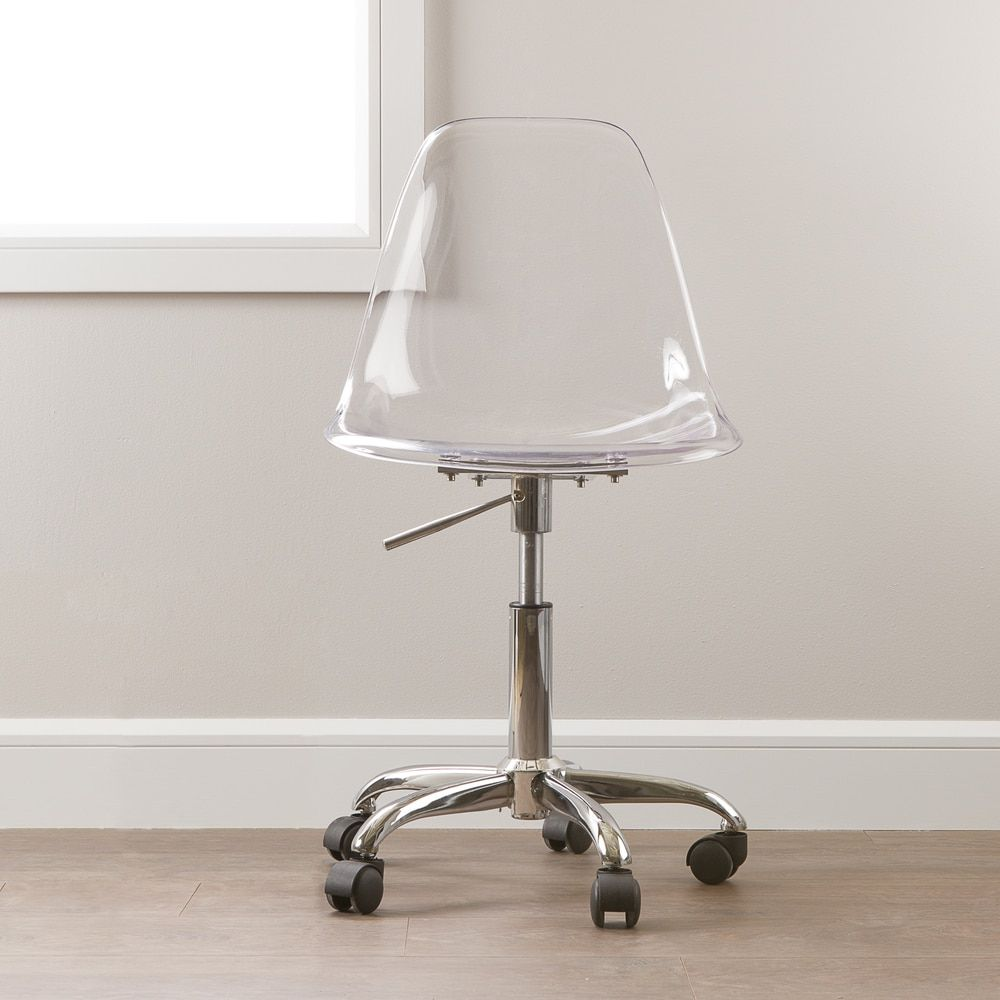 South Shore Clear Acrylic Office Chair With Wheels Clear Office