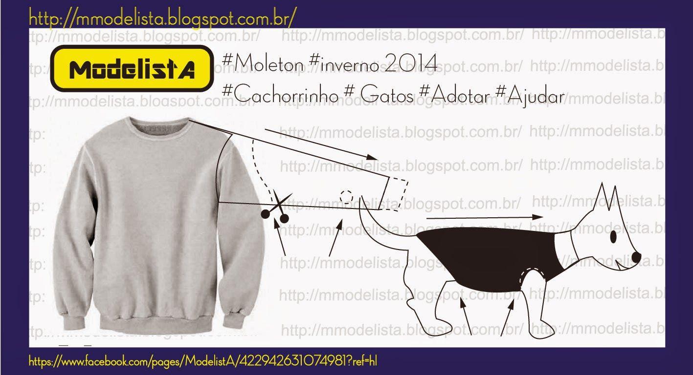 MOLETON / INVERNO/ CACHORRO/ GATO/ ADOTAR/ AJUDAR | Patrones ...
