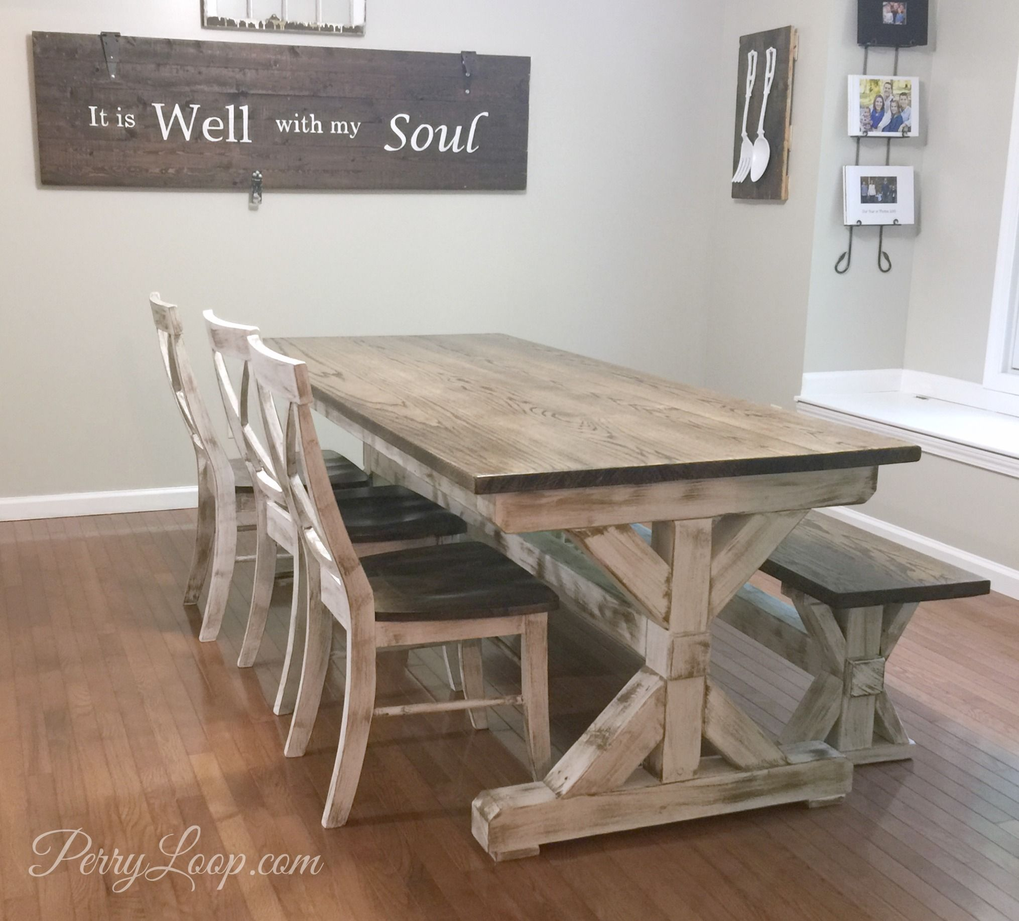 Oak Farmhouse Style Table With Beautiful Post Trestle Base By