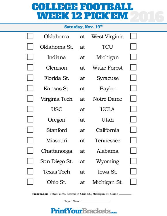 Week 12 College Football Picku0027em Sheet College Football Picku0027em - football pool template