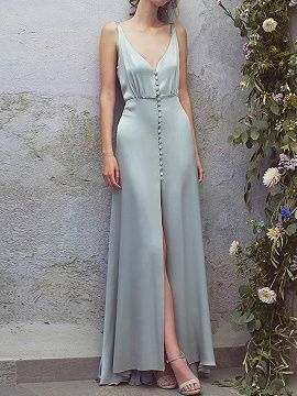 Shop for the Green Satin Look V-neck Button Placket Front Chic Women Maxi Dress ... 2