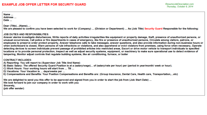 appointment letter format for security guard - Google Search ...