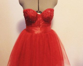 valentine red 2 pc bustier/corset tulle dress tutu skirt