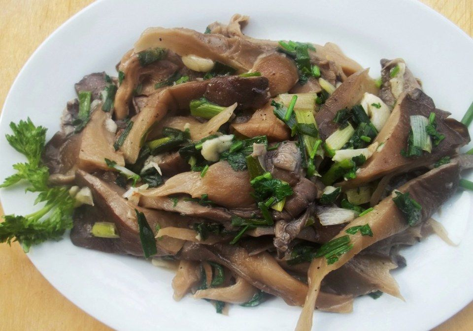 Oyster Mushrooms with Green Onions food