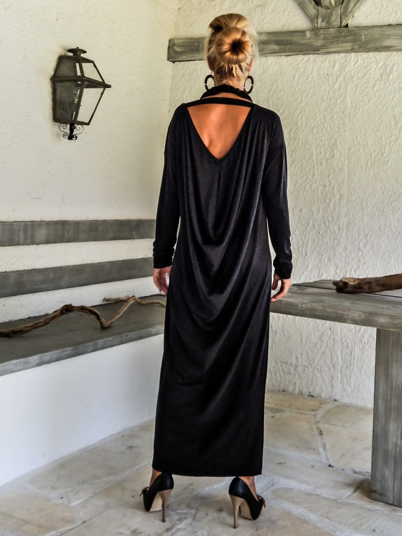 Off black warm winter angora maxi long sleeve dress black kaftan