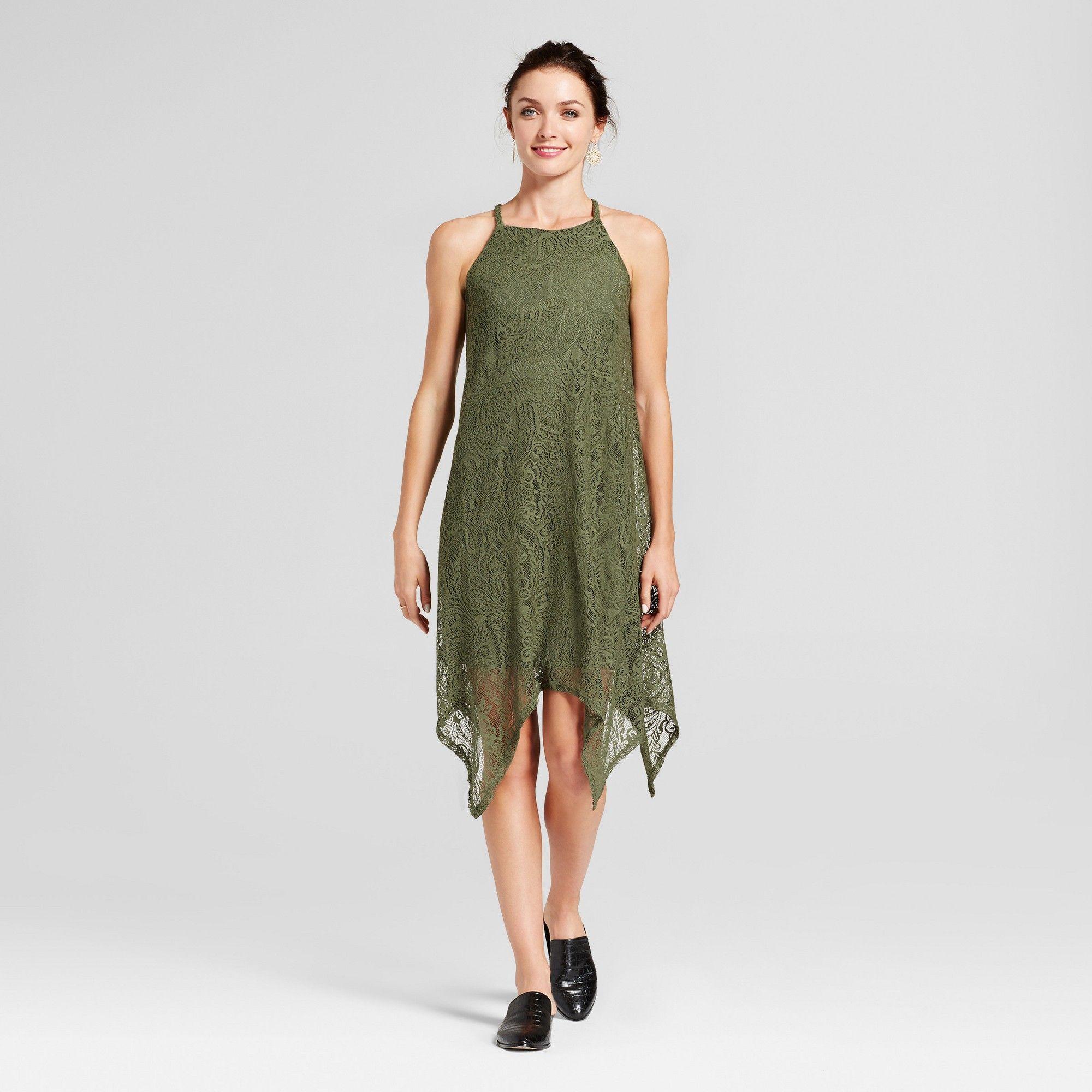 Women's Shark Bite Hem Lace Tank Dress Lux II Olive 16