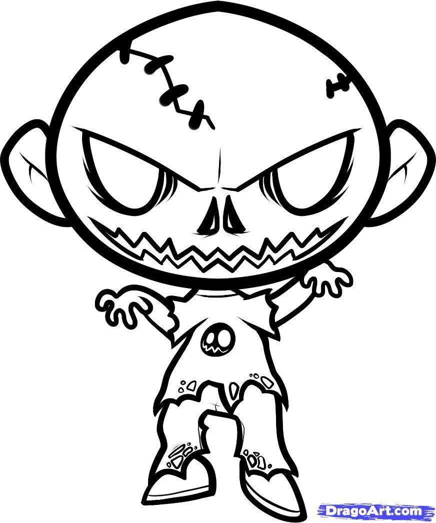 how to draw a halloween zombie, halloween zombie step 8   tattoo ...
